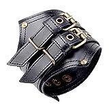 JL Herren Leder Armband, Punk Biker Armreifen Unisex Retro einfache breite Manschette Armband 9.4