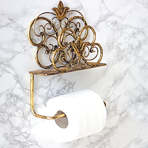 Antique Gold Wall Mounted Toilet Roll Holder - Perfect For