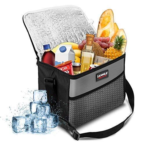 NASUM Kühltasche Picknicktasche Thermotasche Lunch Tasche isolierte Sanne Kühlbox Lebensmitteltransport für Büro Arbeit Outdoor Camping Reisen, Eistasche klappbar faltbar 10L,27x17x21cm(grau) -
