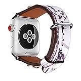 Armband für Apple Watch 42MM, Bandmax Lederarmband Chinesische Malerei Stil Armband mit Biene...