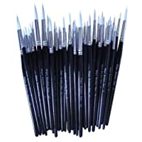 Major Brush Pack of 50 Artist Synthetic Sable Paint Brushes Various Sizes School Pack