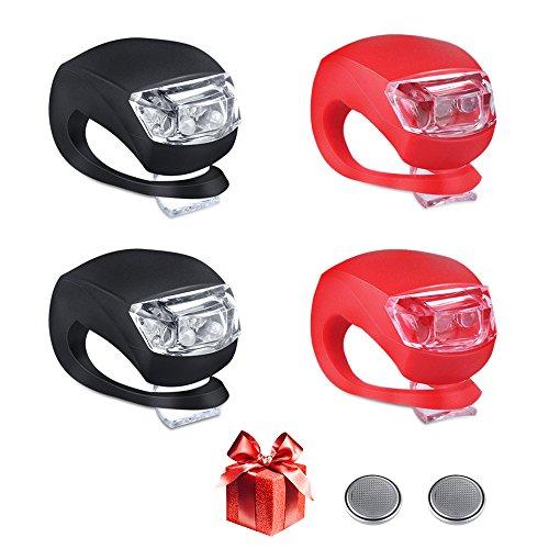 LED Fahrradlicht Set,4 Stück Vivibel Silikonleuchten-Set (2x LED weiß & 2x LED rot) Wasserfestes Silikon-Licht für Kinderfahrrads Sicherheitslicht Kinderwagen-Beleuchtung mit 10 Batterien