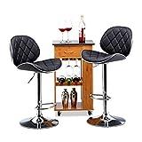 Relaxdays Barhocker 2er Set, höhenverstellbar, drehbar, mit Lehne, Kunstleder, Metall, HxBxT: 111 x 47 x 47 cm, schwarz