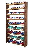 Schuhregal Schuhschrank Schuhe Schuhständer RBS-9-90 (Seiten dunkelbraun, Stangen in der Farbe erle)