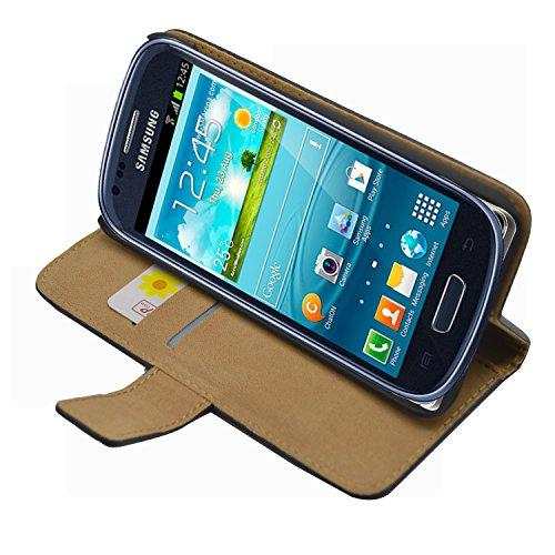 Membrane Nera Portafoglio Custodia in Pelle compatibile con Samsung Samsung GT-i8190 Galaxy S3 SIII Mini - Flip Case Cover + 2 Pellicola Protettiva Schermo