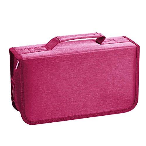 IrahdBowen 128 CD-Box Nylon-Ordner DVD-Aufbewahrungstasche Speicher-Datei-Manager Speichermappe Auto-CD Große Kapazität CD-Tasche Mercerized Cotton Disc-Paket Aufbewahrungstasche (Tasche-datei-ordner)
