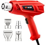 NoCry Electric Heat Gun Kit - Hot Air Gun with 2000 Watt Motor and Dual 600/400℃ Temperature Settings, 4-pc Nozzle Accessories Set Included