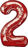 XXL Zahlen Folienballons - Mit Helium gefüllt - Rot 2 - Bunte Zahlenballons für Geburtstag Jubiläum Silvester
