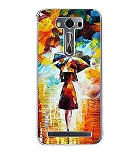 Fuson Designer Phone Back Case Cover Asus Zenfone 2 Laser ZE550KL (5.5 Inches) ( Girl Walking With Her Umbrella )