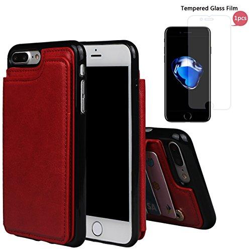 """xhorizon TM Strapazierfähiger stoßfester Brieftasche-Case aus hochwertigem PU-Leder, Rückseite-Folio Flip-Brieftasche-Case mit Kreditkartenschlitzen für iPhone 7 Plus [5.5""""] Rot + 9H Tempered Glass Film"""