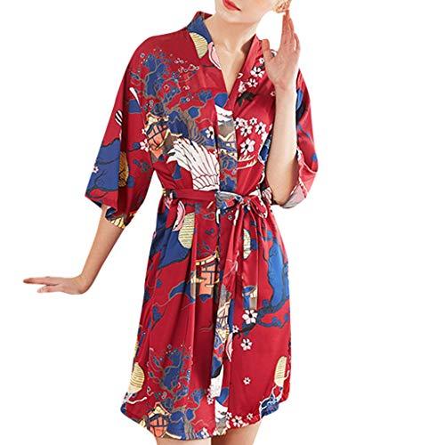 n Morgenmantel Kimono, Glatte Satin Nachtwäsche Bademantel Robe mit Peacock und Blume Kimono Negligee Seidenrobe locker Schlafanzug ()