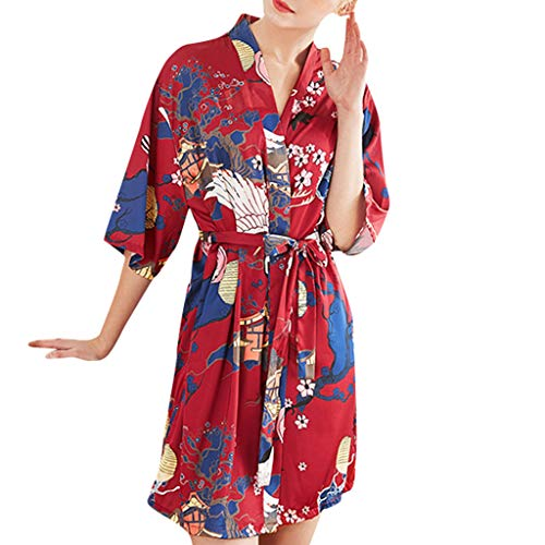 Yazidan Dolamen Damen Morgenmantel Kimono, Glatte Satin Nachtwäsche Bademantel Robe mit Peacock und Blume Kimono Negligee Seidenrobe locker Schlafanzug - Valentines Day Pyjama-hose