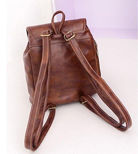 DELEY Damen Vintage Adrette Art Schule Schulter Beutel Handtasche Buchtasche Rucksack Double Umhängetasche Braun