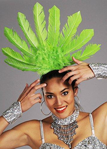 Rio Carnaval Showgirl plume vert bandeau