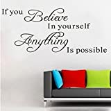 Kolylong Wall Stickers Home Decor Living Room Believe Anything Is Possible 1PC Inspirational Wall Sticker Stickers DIY 71*30cm...