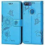 kazineer Cover Huawei Honor 9 Lite, Custodia Honor 9 Lite Pelle Portafoglio Flip Cover per Huawei Honor 9 Lite (Turchese blu)