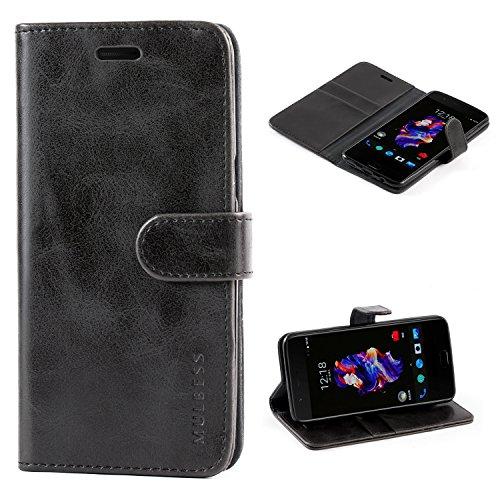 Mulbess Handyhülle für OnePlus 5 Hülle, Leder Flip Case Schutzhülle für OnePlus 5 Tasche, Schwarz