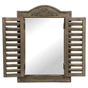Miroir r tro en bois avec volets battants for Miroir 3 volets