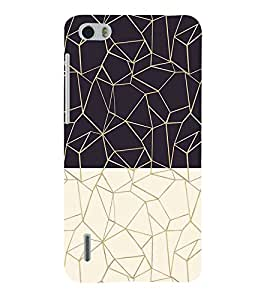 Black and White Zig Zag Pattern 3D Hard Polycarbonate Designer Back Case Cover for Huawei Honor 6