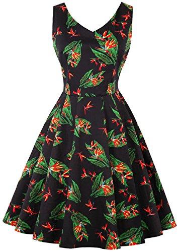 Joansam Mode V-Ausschnitt Sexy Kleid Plus Größe Kurze Party 70er Jahre Retro Vintage Schwarz Weiß Blumenkleid JS1586B-3XL (Niedliche 70er Jahre Halloween Kostüme)