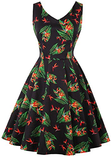Grünes Smaragd Korsett (Joansam Blumendruck Vintage Kleid Frauen V-ausschnitt Sexy Hepburn 50 s Stil Herbst Kleid Big Swing Party Kleider Plus Größe)