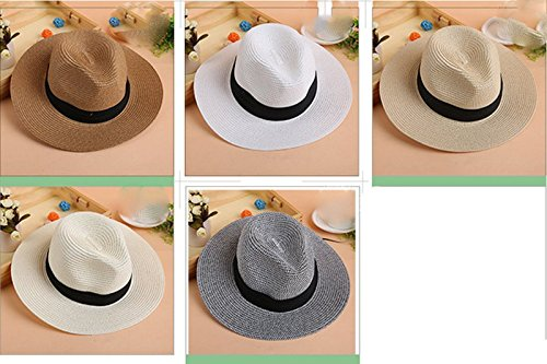 Leisial Casquette Visières Chapeau de Paille pour Femme Été Beige