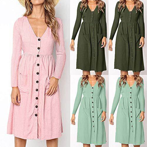IZHH Damen Kleid Frauen Einfarbig V Ausschnitt Knopf Kleid lose ausgestattet Langarm Tasche Casual Strand...
