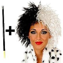 Traje De neopreno para mujer colores blanco y negro Cruella De Vil Ville peluca villano disfraz infantil De disfraz De noche De brujas Accessory