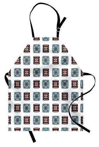 Stamm Quadratischen Form (ABAKUHAUS Batik Kochschürze, Geometrische quadratische Linien aztekische Stammes- Formen mit ethnischem Detail-Volksbatik-Bild, Farbfest Höhenverstellbar Waschbar Klarer Digitaldruck, Mehrfarbig)