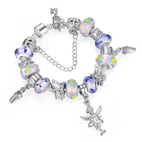 A TE® Armband Schutzengel Charm Glas Beads Damen Geschenk JW-B172 (Schuhe Mädchen Lavendel)