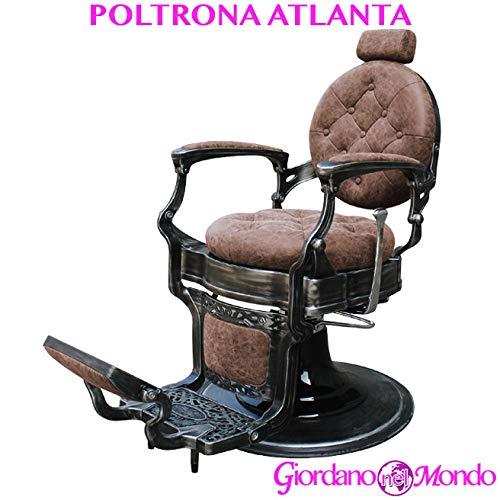 Poltrona barbiere con schienale reclinabile e poggiatesta regolabile professionale