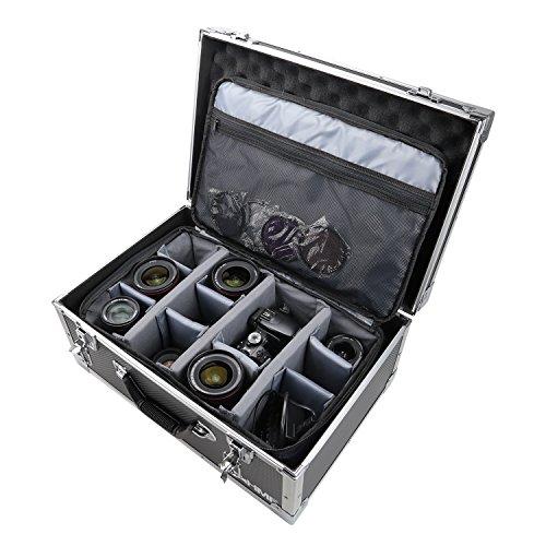 HMF 18440 Kamerakoffer, Fotokoffer Aluminium mit Tasche, individuelle Trennwände, 48 x 32 x 22,5 cm, schwarz