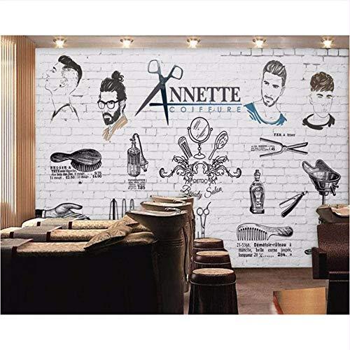 Ytdzsw Herren Barber Shop Wallpaper Salon Keine Sharon Fototapete Benutzerdefinierte 3D Wandbild Handbemalt Trend Barber Shop Wandbild-450X300Cm