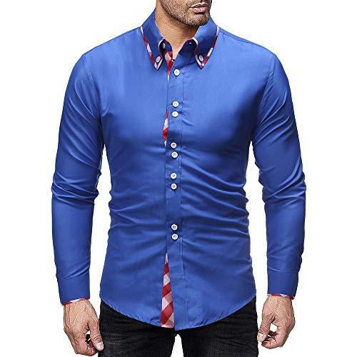 qulvyushangmaobu Herrenhemd Slim Fit Langarm Elastic Formal Shirt Lässig Button Down Shirts für Männer Herren Langarm Casual Shirt/für Business Anzug Hochzeit Casual/Slim-Fit