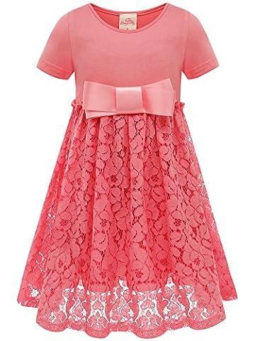 Bonny BillyMädchen Kleid beiläufige Satin Spitze mit Bogen 110