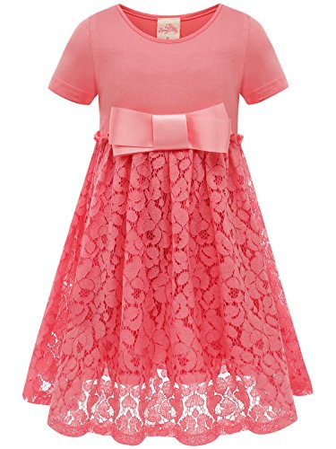 Bonny BillyMädchen Kleid beiläufige Satin Spitze mit Bogen 140 Rosa (Navy Uniform Kleid)