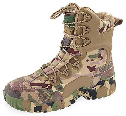 MYXUAA Stivali da combattimento militari e tattici da uomo Calzature da caccia per escursionismo all'aperto con lacci alto mimetico mimetico-green-EU40/US8/UK7