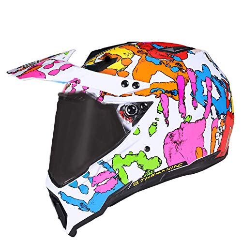 ZJRA Farbe Palm Print/Motocross Integralhelm Herren Full Coverage Motorrad Fashion Helm Pull Helm DOT,darkglassesXL61~62CM Palm Dot