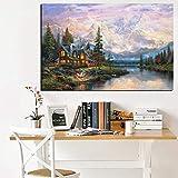 Hd Print Landscape Pintura al óleo sobre lienzo Cathedral Mountain Lodge Por Thomas Kinkade Imagen de pared moderna para sala de estar Cuadros 1 60x90cm sin marco