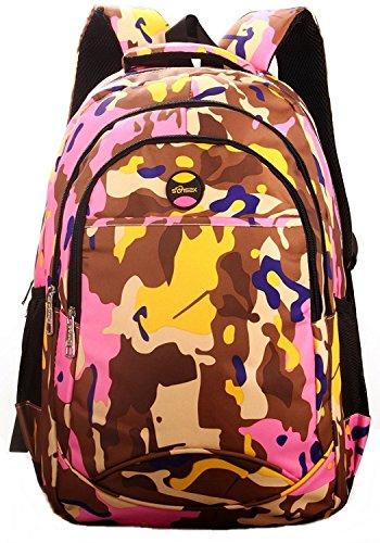 Tarn Camo TARNFARBEN RUCKSACK RANZEN SCHULRUCKSACK Camouflage Jungen Mädchen (Braun-Rosa) (Rosa Camouflage-rucksack)