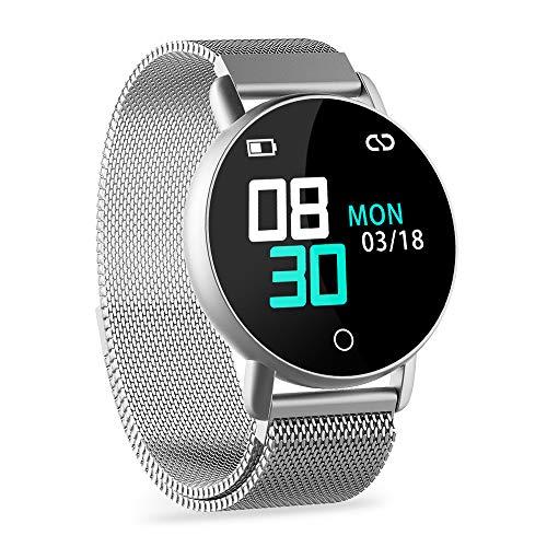 WENVVIS Fitness Armband, Fitness Tracker mit Pulsmesser und IP67 Wasserdicht Fitness Uhr, Blutdruck und Schlafmonitor Schrittzähler, Smart Watch with Vibration Wecker Aktivitätstracker (Silver)