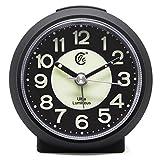 JCC charmante leuchtende kleine runde Handheld Größe nicht ticking Quarz Schreibtisch Uhr Wecker Reisewecker mit Licht Nacht, Snooze Funktion - batteriebetrieben (matt - schwarz)