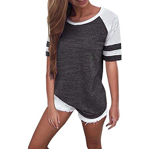 tefamore Mode Femmes Dames À Manches Courtes Splice Blouse Tops Vêtements T-Shirt (L, Gris foncé)