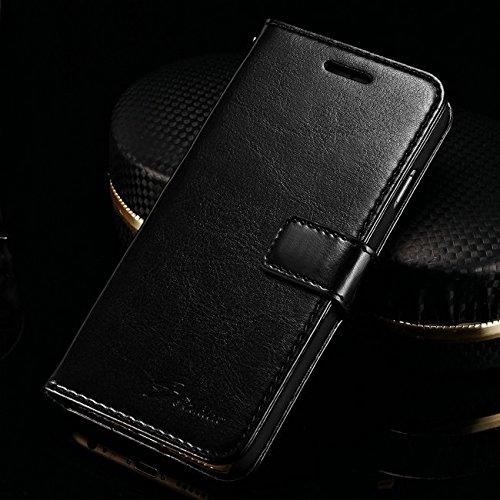 Coque iPhone 6/6s , iNenk® Sac à main en cuir d'unité centrale Case w/carte ID titulaire luxe noir portefeuille carte sachet Stand couverture mode marée téléphone Shell protection-Noir Black2