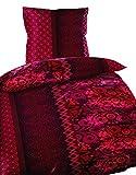 2 teilige Winter Fleece Flausch Thermofleece Bettwäsche 155x220 cm geblümt brombeer orientalisch mit Reißverschluss