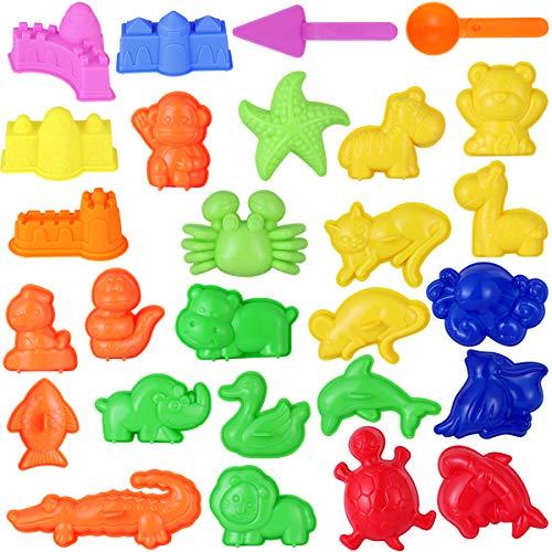 TOYMYTOY Sandspielzeug Kinder Strand Spielzeug Sand Förmchen Sand Spielset - Meeres Tiere, Safari Tiere, Mini Schlösser Sand Werkzeuge - Sommer Draussen Spaß