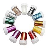 BELLE VOUS 12 Pezzi Glitter Polvere - Glitter Fini - Glitter per Slime - Polveri Glitter per Unghie, Viso, Album Ritagli, Creazione Cartoline, Tatuaggi - Artigianato Glitter - Unghie Glitter