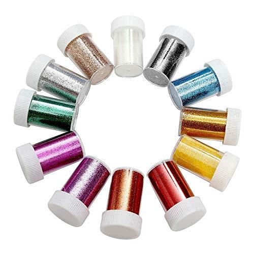 BELLE VOUS 12 Farben Glitzerpulver Set - Feines Glitzer, Bastel Glitzerpulver zum Nagelkunst, Kartenbasteln, Party Dekoration und Mehr - Glitzerpulver zum Dekorieren Gesicht, Nägel, Haare - Gesicht-farbe-pulver