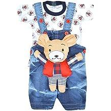 Kuchipoo Baby Dungaree Set With T-Shirt BLUE & White