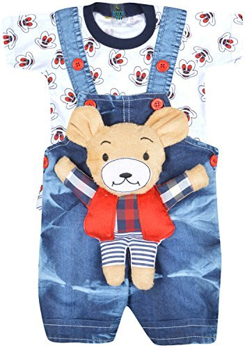 Kuchipoo Baby Boy's Cotton Dungree Set (KUC-DUN-103-1 years-1.6 year_Red and...
